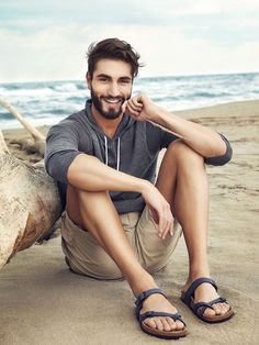 Perfect beach look in Grey Hoodie, a pair of Beige Shorts and Navy Leather…