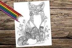 Fox Animal coloring book page adult by ArtistrybyLisaMarie on Etsy