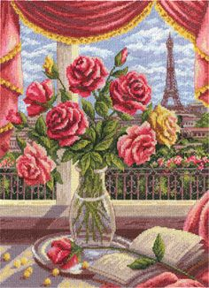 Riolis Basket With Roses - Cross Stitch Kit. Cross stitch kit featuring a basket full of flowers. This cross stitch kit includes 14 count white Aida Zweigart fa Cross Stitch Needles, Cross Stitch Heart, Counted Cross Stitch Kits, Cross Stitch Flowers, Hand Embroidery Art, Cross Stitch Embroidery, Embroidery Patterns, Cross Stitch Designs, Cross Stitch Patterns