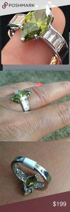 Peridot & white sapphire Ring Marquise cut peridot & baguette Sapphire on the size Galaxy...See in 925 S/S Jewelry Rings