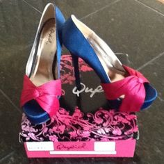 "Host pickQupid  high heel, peep-toe heel Navy with hot pink satin wrap toe.  NWOT, box included. Non skid sole. 5.25"" heel with 1.75"" platform. Shoes"