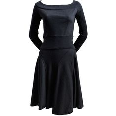 Preowned Azzedine Alaia Black Wool Dress With Seamed Flared Skirt ($875) ❤ liked on Polyvore featuring dresses, black, boat neck dress, flared skirt, circle skirt, pre owned dresses and woolen dress
