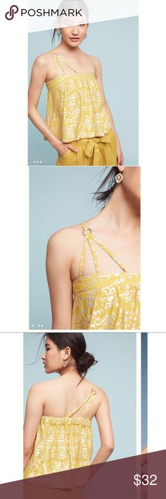 ❤️Anthropologie Gold Metallic One Shoulder Top❤️ New with tags. Size medium. Anthropologie Tops Tank Tops