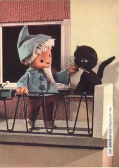"Sandman with a cat - 1964 The (pronounced ""nineteen-nineties""; shortened to was ten Kitsch, 90s Tv Shows, East Germany, 90s Cartoons, Deep Forest, Stop Motion, Bedtime, Childhood Memories, Retro Vintage"