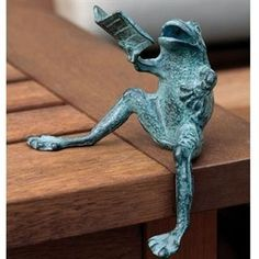 Brass Reading Frog shelf sitter via ebay. The orator declaims in sonorous ribbeting tones? -pfb :-) ... Give credit where due. Acknowledge the artist by name here in the caption. Link / Pin from the Primary source. Promote blogs here in the caption.