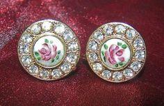 Designer KARU Guilloche Enamel Roses Crystal Rhinestone Vintage Earrings, Signed