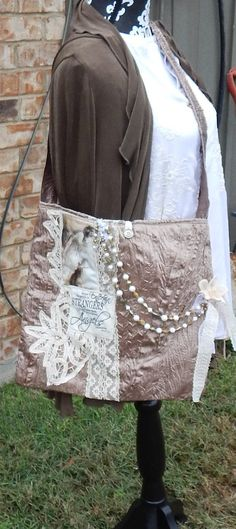Romantic Handmade Shabby Chic Embellished Tote by CrossMyHeartBags