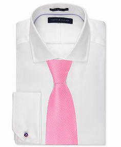 Tommy Hilfiger Non-Iron White Solid Dress Shirt & Nantucket Pindot Tie