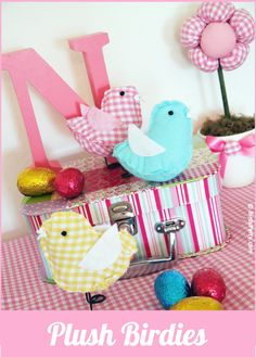 Little Stuffed Plush Easter Chicks -- so cute in gingham fabric for a holiday display, or tuck in an Easter basket! Free PDF Pattern download.