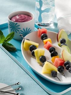 Fruit Kebabs With Blueberry Dip » US Highbush Blueberry Council