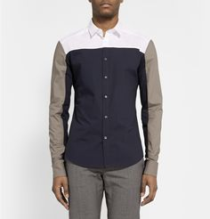 Wooyoungmi Contrast-Panelled Cotton Shirt