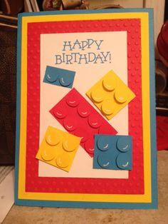 Lego Birthday Card Lego Birthday Cards, Birthday Cards For Boys, Happy Birthday Cards, Boy Birthday, Boy Cards, Kids Cards, Lego Card, Greeting Cards Handmade, Homemade Cards
