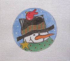 $10.95      Snowman with Red Bird Round Handpainted Needlepoint Canvas #Unbranded