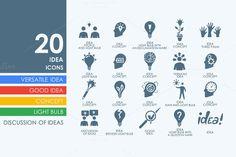 20 idea icons by Palau on Creative Market