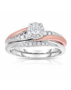 HERBKO INTERNATIONAL, 10K Two Tone 0.35 Cttw Certified Diamond Ring Set, white
