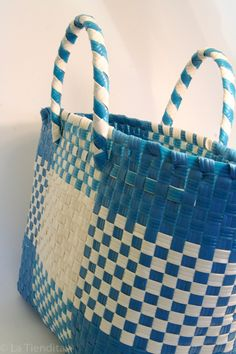 Woven plastic tote. Southern Mexican style $15