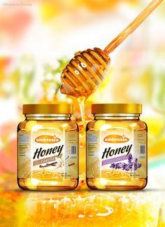 Honey packaging design concept by Anastasia Ziemba, via Behance Honey Packaging, Fruit Packaging, Food Packaging Design, Bottle Packaging, Packaging Design Inspiration, Honey Bottles, Honey Logo, Honey Label, Honey Brand