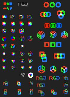 I designed the logo, type treatment, and brand guidelines for RGB Schemes, a VR gaming start-up. Logo Process, Design Process, Badge Design, Logo Design, Cores Rgb, Equality Tattoos, Monogram Logo, Glitch Wallpaper, Restaurant Logo