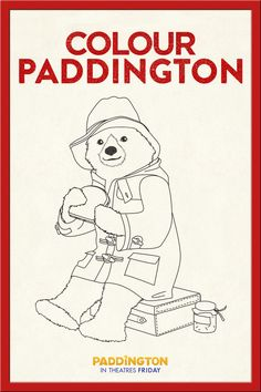 A fun coloring page activity for Paddington fans of all ages! Use this printable of Paddington and fill in the colors he's missing. We imagine you'll need red and blue at some point. Ours Paddington, Paddington Bear Party, Bear Coloring Pages, Cool Coloring Pages, Teddy Bear Cartoon, Teddy Bears, Vintage Coloring Books, London Party, Bear Art