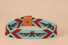 native american choker pattern | Native American Indian Thunderbird Inspired Seed Bead Choker Necklace ...