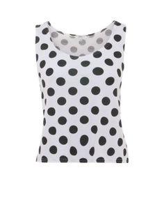 White Polka Dot Crop Vest