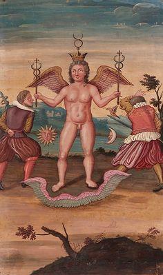 Ecole française du début du XVIIe siècle à sujet ésotérique, alchimique et maçonnique, gouache. Mercure couronné est représenté tenant les caducées, à ses côtés deux soldats, la lune et le soleil. Dans la seconde clef de Basile Valentin, l'époux, l'Or, prend un bain purificateur préparé par «deux tireurs d'épée»(ce sont les matières antagonistes). Le guerrier de droite, celui dont le glaive porte un aigle, c'est le sel d'ammoniac, celui de gauche, est le salpêtre. Tous deux donnent corps au…
