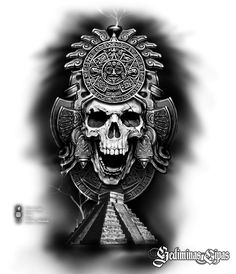68 Ideas design tattoo aztec for 2020 Chicano Tattoos, Kunst Tattoos, Skull Tattoos, Body Art Tattoos, Arm Tattoos, Symbol Tattoos, Aztec Tattoo Designs, Skull Tattoo Design, Tattoo Sleeve Designs