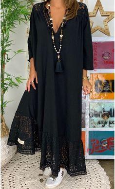 ROBES - PRET A PORTER - E-SHOP Street Hijab Fashion, Abaya Fashion, Boho Fashion, Fashion Dresses, Cheap Dresses, Casual Dresses, Black Work Dresses, Mode Abaya, Elegant Maxi Dress