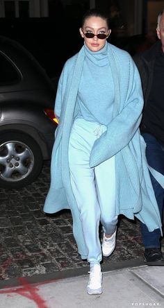 Doesn't Gigi Hadid Look Like the Ultimate Ice Princess in This Baby Blue Outfit? aesthetic fashion Doesn't Gigi Hadid Look Like the Ultimate Ice Princess in This Baby Blue Outfit? Mode Monochrome, Monochrome Outfit, Monochrome Fashion, Trend Fashion, Blue Fashion, Look Fashion, Baby Blue Aesthetic, Light Blue Aesthetic, Aesthetic Fashion
