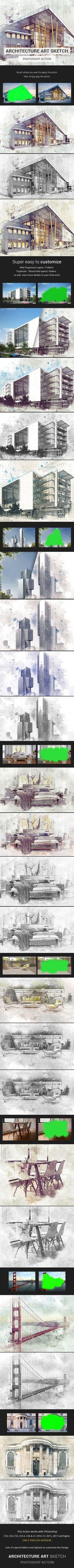 Architecture Sketch Photoshop Action - Advanced