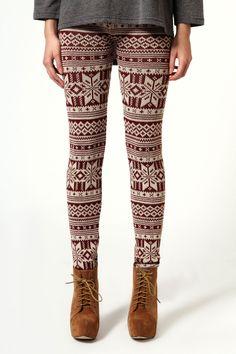 Jade Knitted Fairisle Leggings