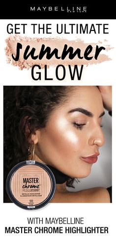 The perfect drugstore highlighter!  Get the ultimate summer glow with the NEW Maybelline Master Chrome Metallic Highlighter in 'Molten Gold'.  This ultra-metallic highlighter provides a blinding glow with a buttery soft texture.
