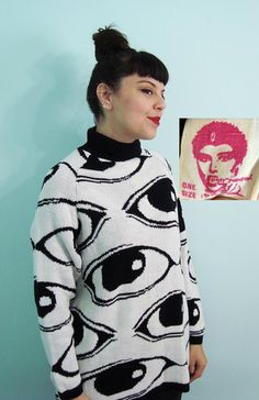 Okay would legit buy this for you - Rare Vintage 80s EYE BALL Knit Sweater - Betsey Johnson Punk Label - white black on Etsy, $355.00