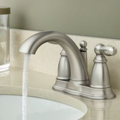 Brantford Two Handle Centerset Bathroom Faucet Brushed Nickel Faucet, Architectural Features, Water Conservation, Traditional Looks, Bathroom Faucets, Hand Washing, Home Improvement, Sink, Handle