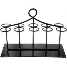 Présentoir éprouvettes à dragées noir rectangulaire 20 cm, portant et support pour 10 éprouvettes à dragées.