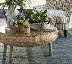 Santa Ana Woven Coffee Table | Pottery Barn