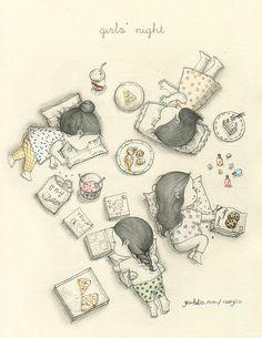 children Playground Sketch - 즐거운 우리들(Girls' night) by 꼬닐리오 on Cool Art Drawings, Pencil Art Drawings, Art Drawings Sketches, Korean Illustration, Illustration Girl, Dibujos Cute, Whimsical Art, Cute Art, Illustrators