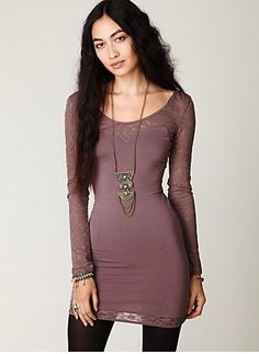 Long Sleeve Lace Bodycon Slip - $78