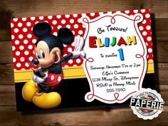 MICKEY MOUSE Birthday Invitation, Mickey Mouse Clubhouse Invite, Mickey Mouse Invitation, Personalized, Printable, Pink Frosting Paperie on Etsy, $8.00