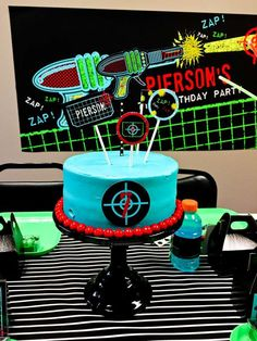 Check out this cake at a laser tag birthday party! See more party planning ideas at CatchMyParty.com!