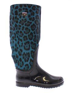 Dolce & Gabbana Black Rubber Blue Leopard Leather Rain Boots