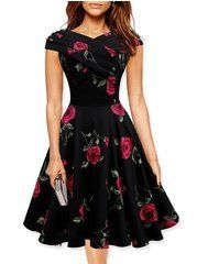 Slash Neck Floral Printed Skater-dress