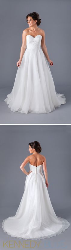 A classic A-line wedding dress with a strapless, sweetheart neckline.