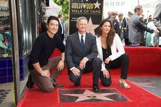 Actors Daniel Henney Gary Sinise and Alana de la Garza pose for a photo as Gary Sinise is honored with a Star On The Hollywood Walk Of Fame on April...