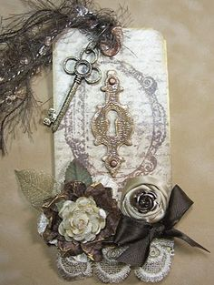 Lace & rose tag