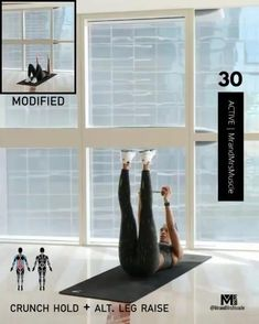 workout at home Sixpack Workout, Full Body Hiit Workout, Ab Core Workout, Hiit Workout At Home, Gym Workout Videos, Fitness Workout For Women, Easy Workouts, Yoga Fitness, At Home Workouts