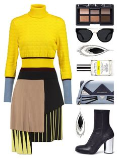 """""""Bright Yellow & Cat Motif"""" by voyenvy-1 ❤ liked on Polyvore featuring Mary Katrantzou, Karl Lagerfeld, FAUSTO PUGLISI, Opening Ceremony, Alexis Bittar, Demeter Fragrance Library, Quay, NARS Cosmetics, Sweater and pleatedskirt"""