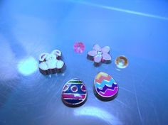 Easter Floating Charm Set-Bunny Floating Charm-Easter Egg Floating Charm-Pink Flower Floating Charm-Enamel Charm-Memory Charm-Floating Charm