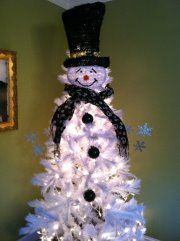 Snowman Christmas tree from our dining room. We love him!!