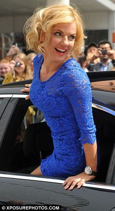 Geri Halliwell - a Spring in her right colour, periwinkle blue/bright/clear